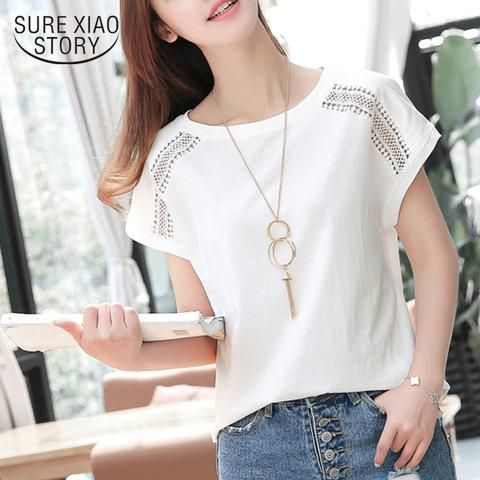 92ba2e857c8 Plus Size 5XL Women Clothing 2018 Summer Fashion Hollow Out Blouse Casual  O-Neck Batwing Sleeve Women Top Shirt D670 30
