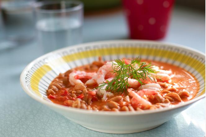tomatsoppa med räkor