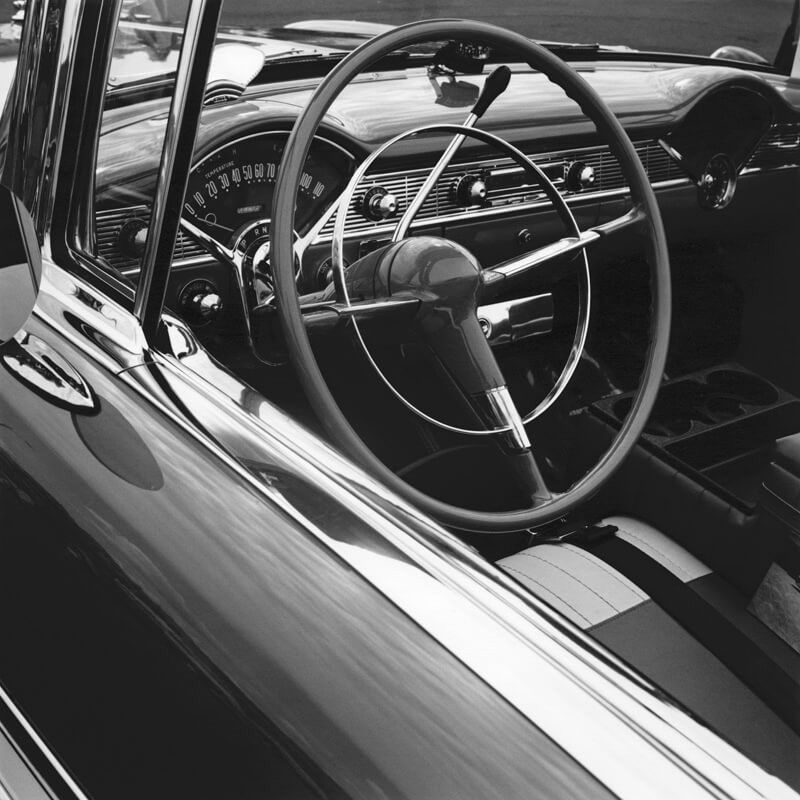 Close up of old-fashioned, restored Chevrolet car