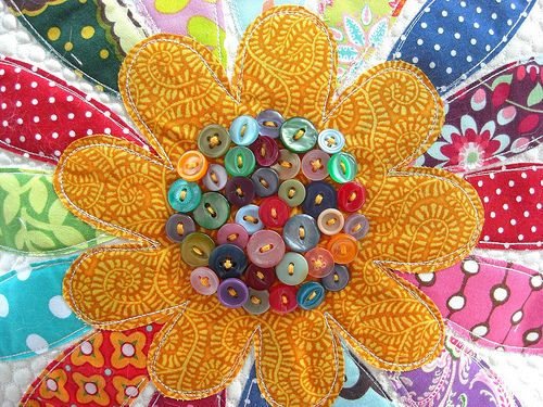 buttons and quilt