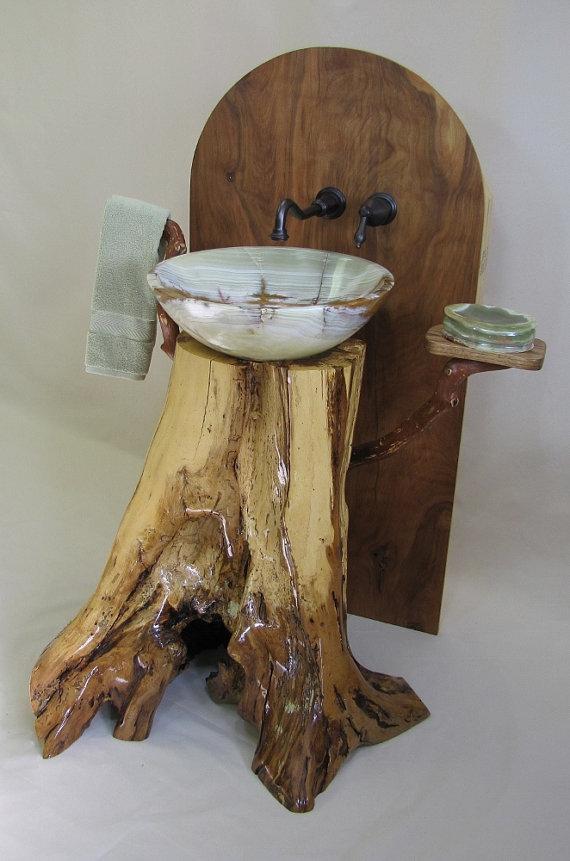 Chestnut Oak Pedestal Sink With Green Onyx Vessel Pedestal Sink