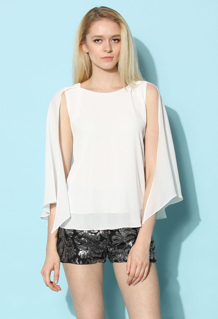 Flap Cape Top in White - Retro, Indie and Unique Fashion