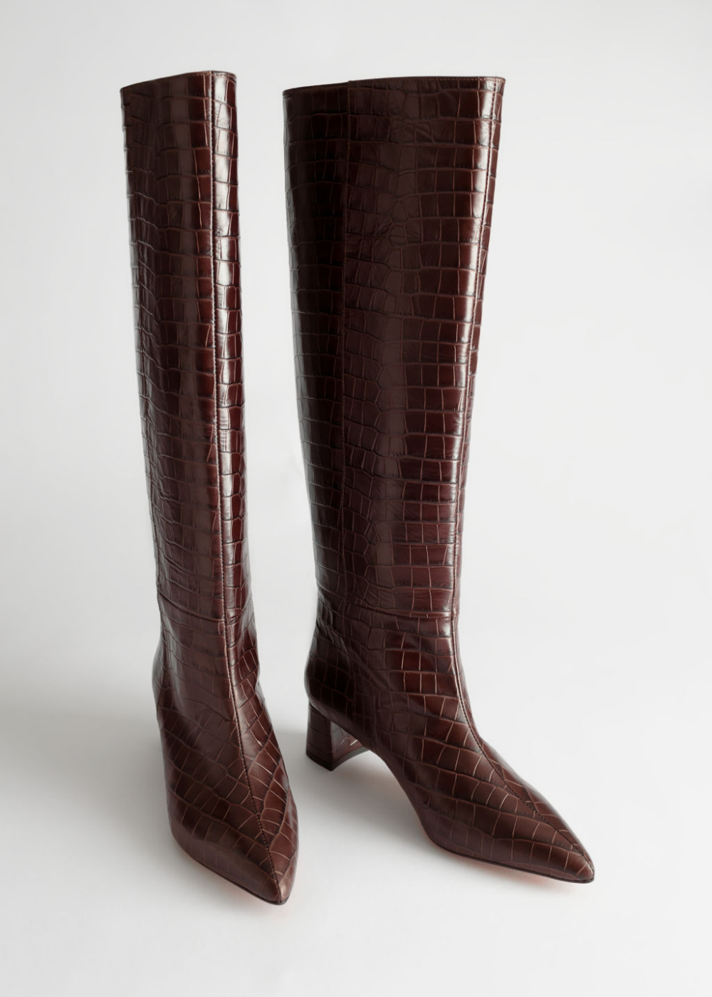 Croc Leather Knee High Boots Knee High Leather Boots Knee High Boots Kitten Heel Boots