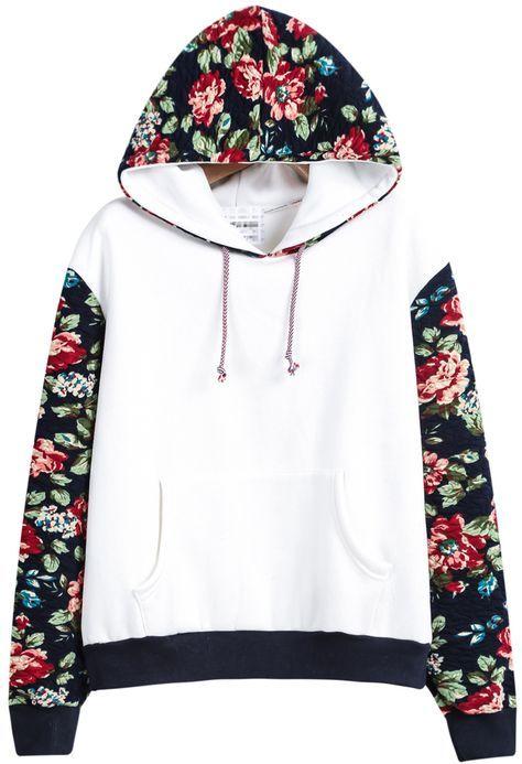 22c6205313 Sudadera con capucha contraste floral manga larga-blanco 19.62 ...