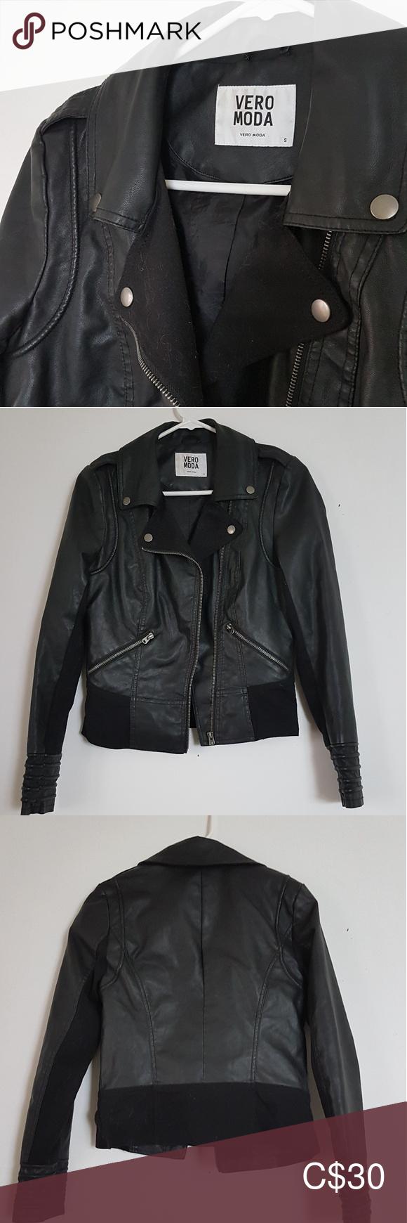 Vero Moda Moto Jacket Black Womens Small 1