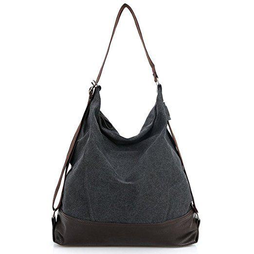 VADOOLL® Groß Damen Vintage Umhängetasche Mädchen Canvas Schultertasche  Baumwolle Shopper Handtasche für Uni Schule College