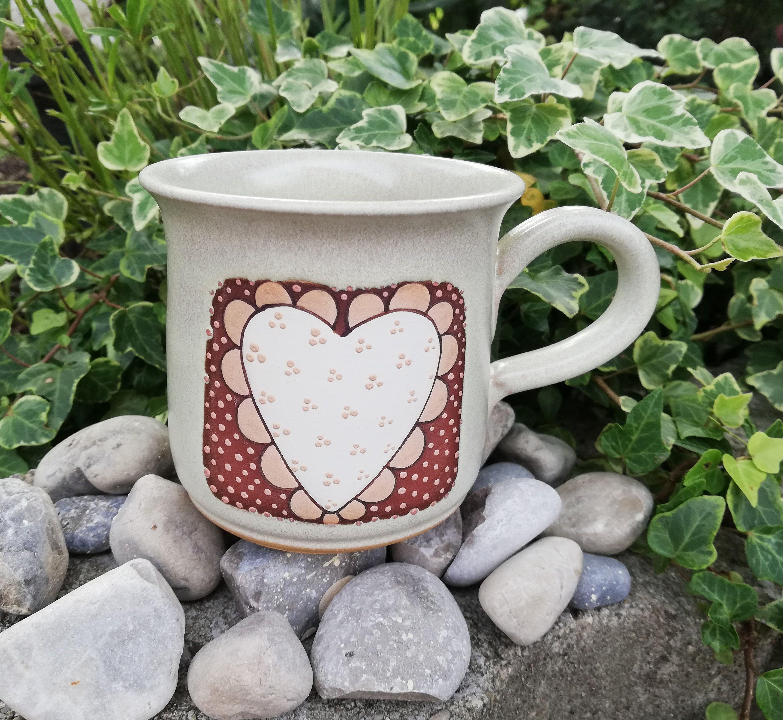 Tasse Herzmotiv Becher Kaffeetasse Teebecher 280 ml Handbemalt