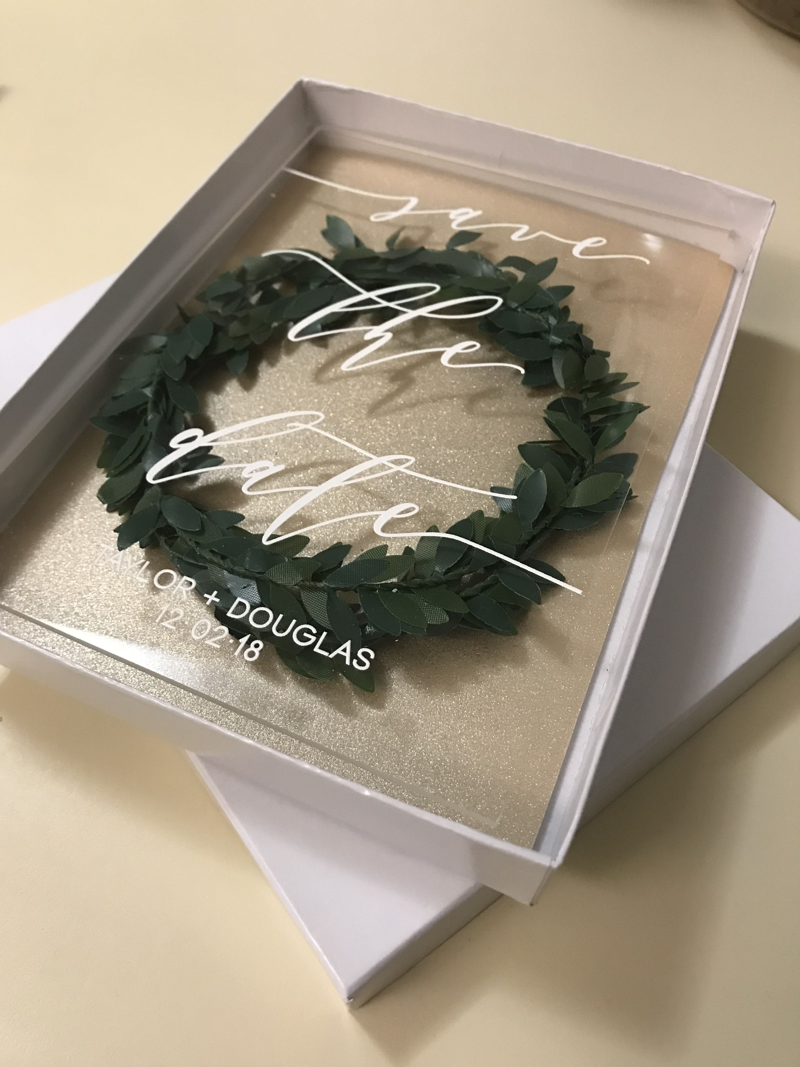 Acrylic Save The Date mailer box DIY rustic winter