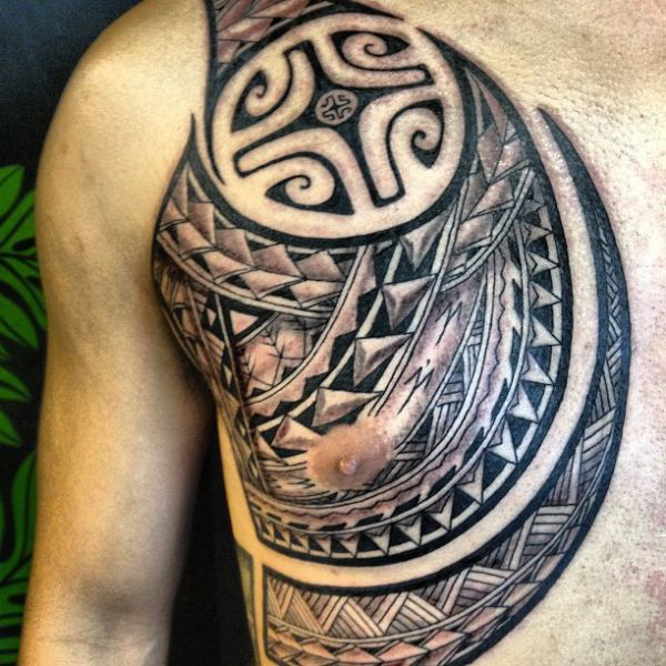 polynesian chest tattoo tattoo ideas pinterest chest