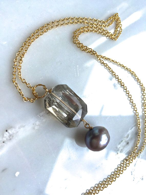"""Large Champagne Crystal and Freshwater Pearl Gold Necklace, Pendant Necklace, Elegant and Simple Necklace, 24"""" Gold Filled Chain, Sparkling"""