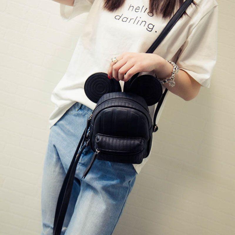 Fashion Women PU Leather mini Bag Cute Mouse Ears teenage girls Backpack  Double Shoulder Bag Female bag of Occasional Travel