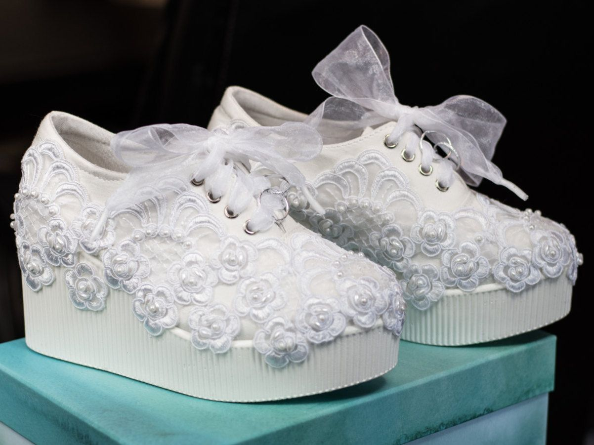 Platform Wedge Lace Sneakers Bridal Tennis Shoes In White Briana