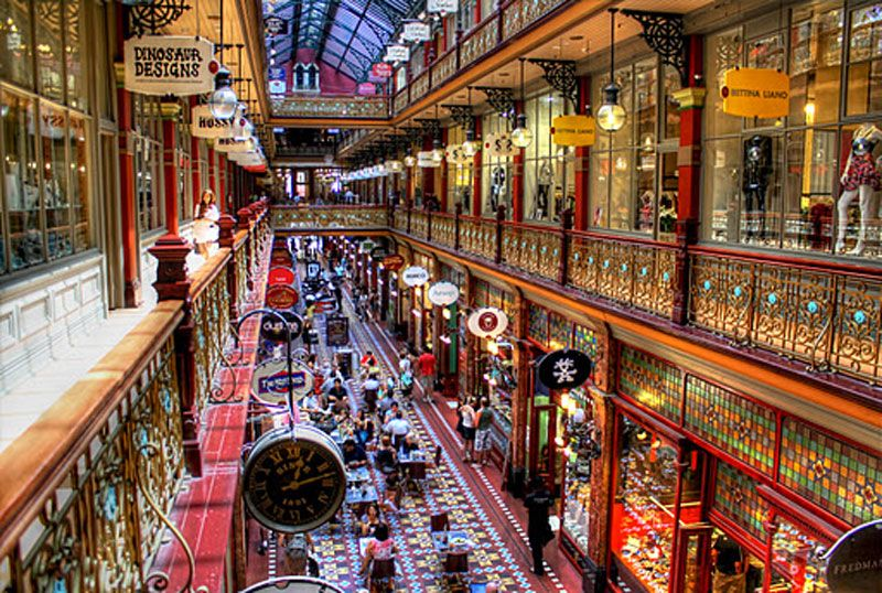 Strand Arcade (1891): Featuring a glass roof, chandeliers and cast iron ornamentation, this shopping arcade is the design of JB Spencer. It was one of the first Sydney buildings to feature hydraulic lifts and gas and electric lighting. It has been restored to its former glory after being gutted by fire in 1976.