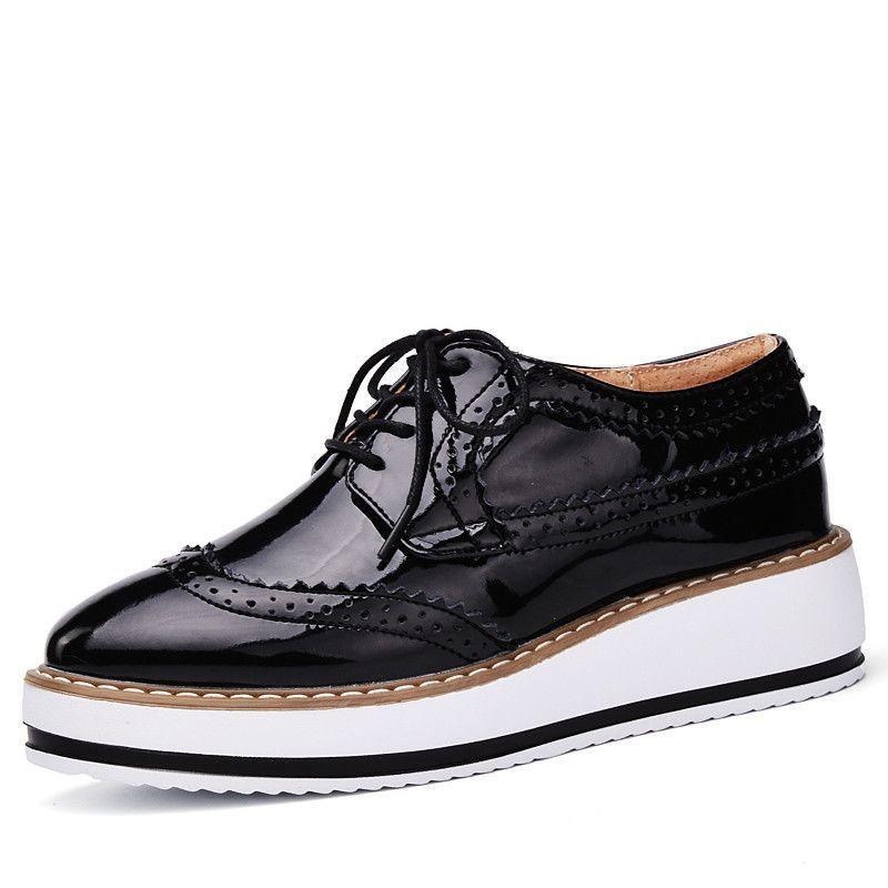 Zapatos de Cordones Vestir Brogue Para Mujer Talón Plataforma 4.5 CM Negro Blanco Vino Rojo 36 8ZDcYhcR