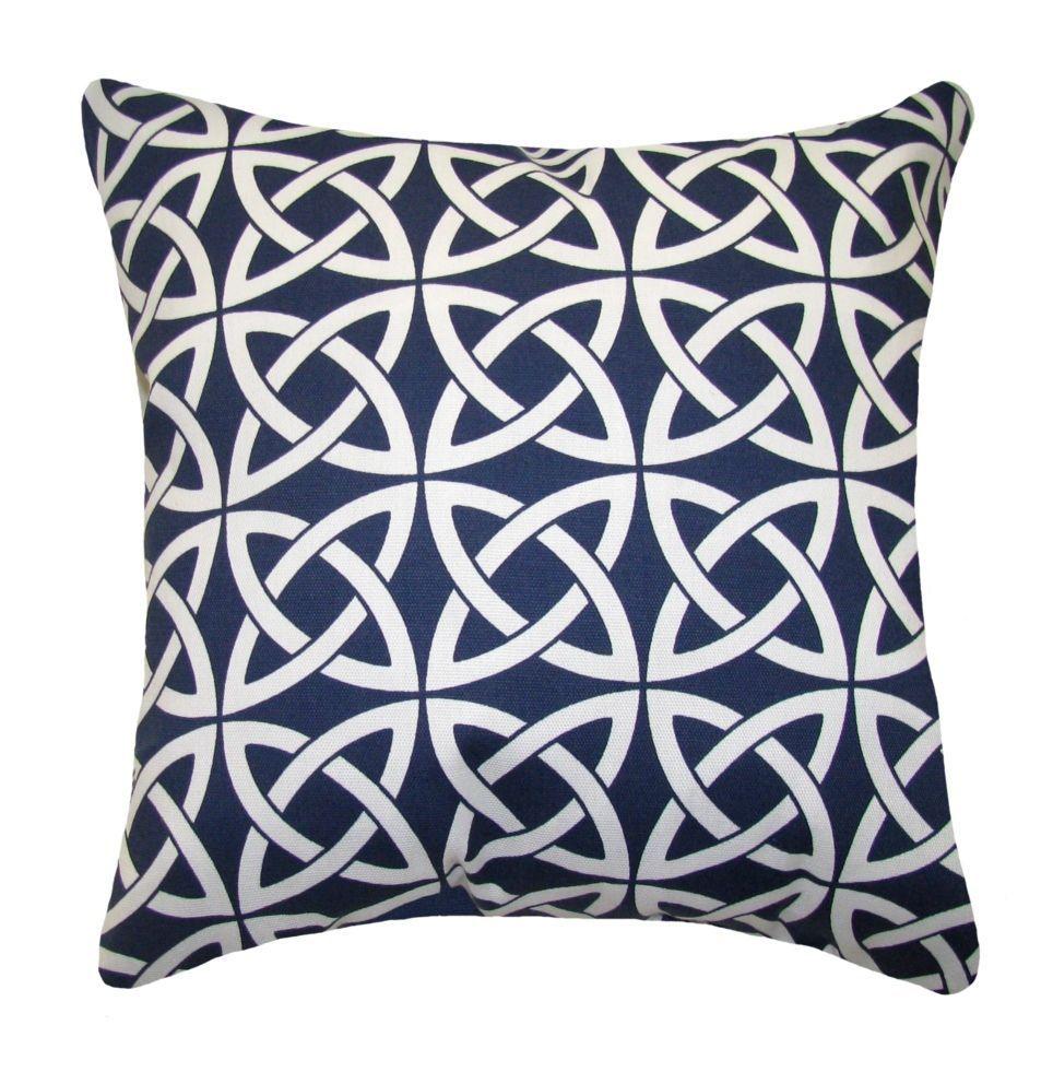 Navy outdoor throw pillow celtic knot pillow navy geometric deck
