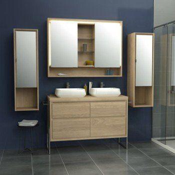 Meuble de salle de bains plus de 120 brun marron storm for Meuble salle de bains leroy merlin