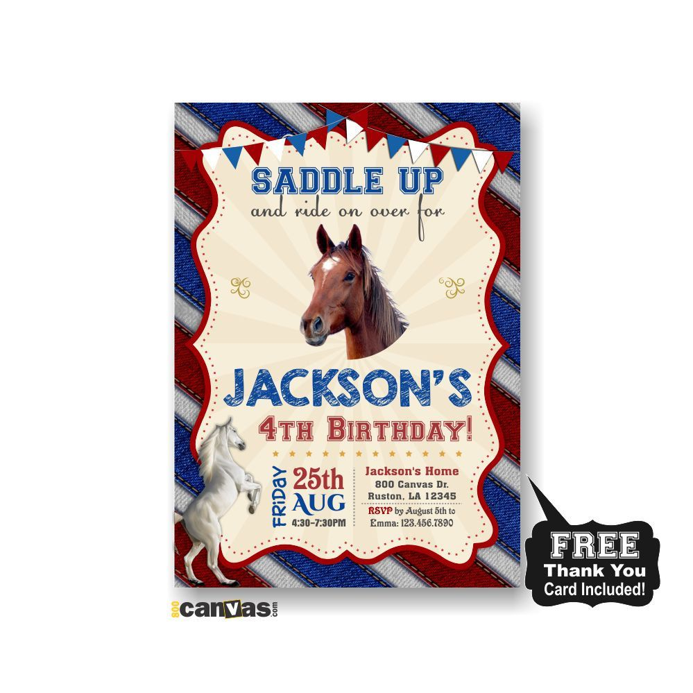 Horse Birthday Invitation, Horse Party, Boys Girls Western Party ...