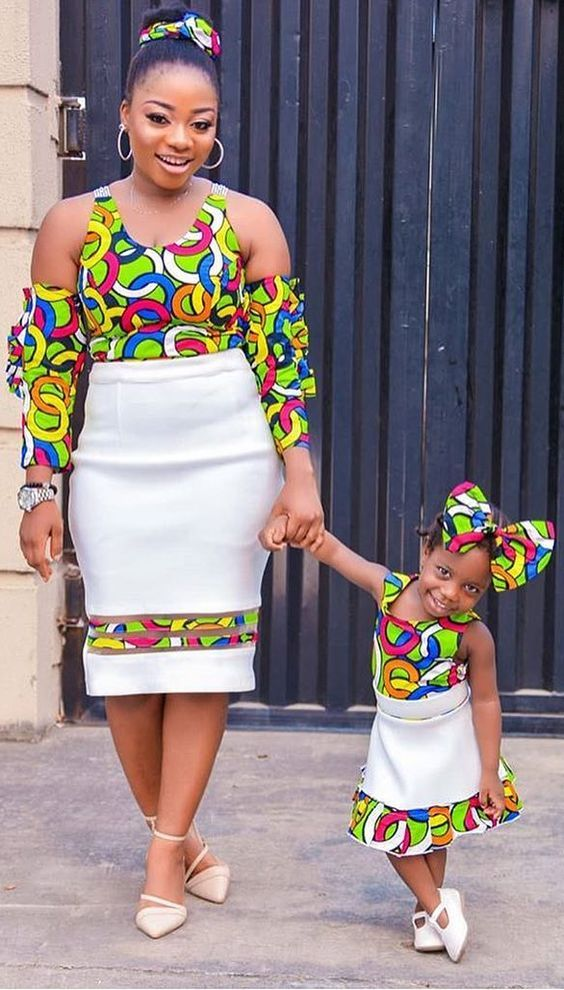 Classic Matching Mother And Daugther African Print Ankara Skirt Top Designs For Daughter