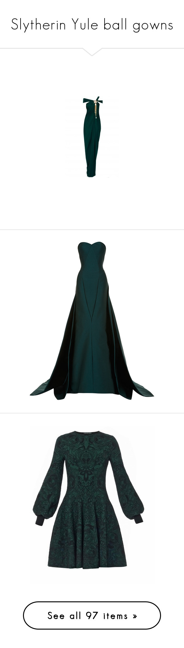 """Slytherin Yule ball gowns"" by weeby ❤ liked on Polyvore featuring dresses, gowns, gown, long dresses, draped evening gown, white drape dress, long white evening dress, white dress, draped dress and emerald gown"