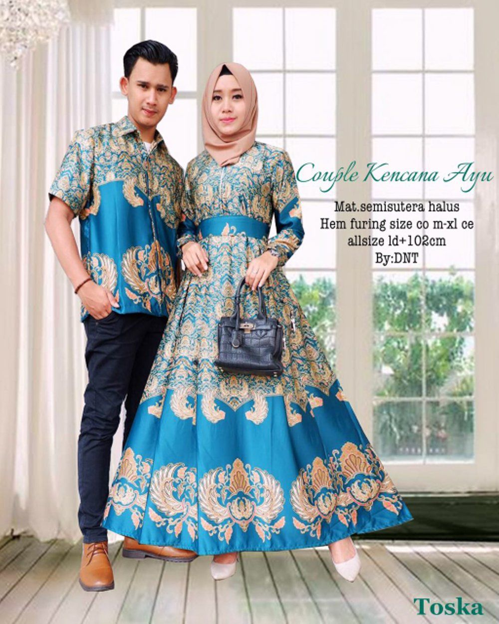 Setelan Model Baju Batik Couple Semi Sutra Kencana Ayu Warna Tosca