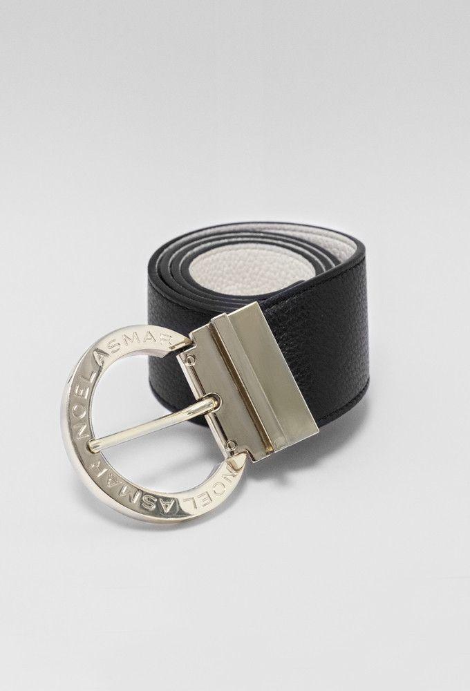 Asmar Equestrian Signature Leather Reversible Belt, Black/White