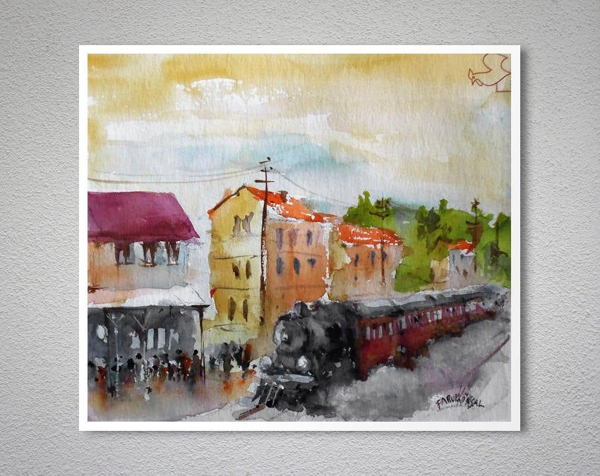 Steam Train In The Station Watercolor Aquarell Painting By Faruk