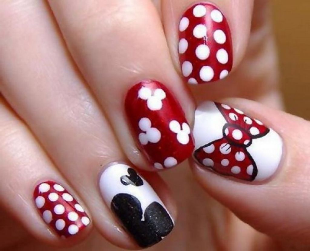 Minnie Mouse Nails Ideas Easy Mickey Mouse Nail Art Nail Design Women Makeup Nailss Mickey Mouse Nail Art Disney Nails Dot Nail Designs