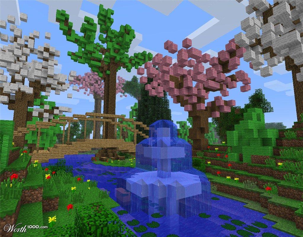 Tree Designs Minecraft Fountain Minecraft Garden Minecraft Garden Ideas