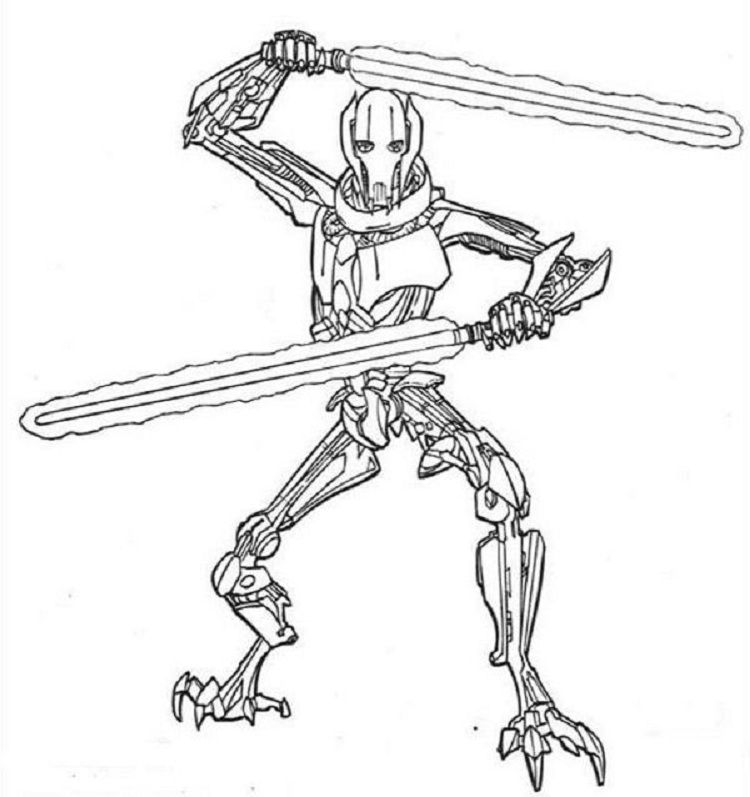 star wars coloring pages general grievous | http://prinzewilson.com ...