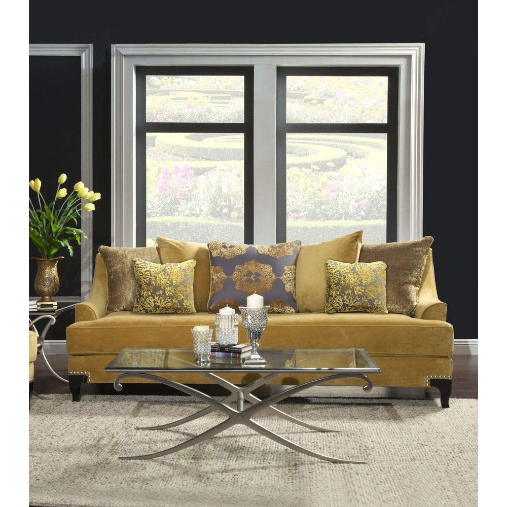 Furniture Of America Gisc Velvet Fabric Upholstered Sofa Gold