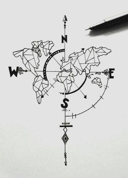 55+ ideas tattoo compass geometric