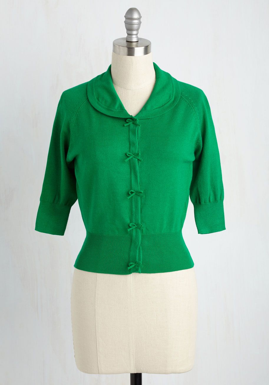 Generous to a Malt Cardigan in Clover - Short, Green, Solid, Work ...