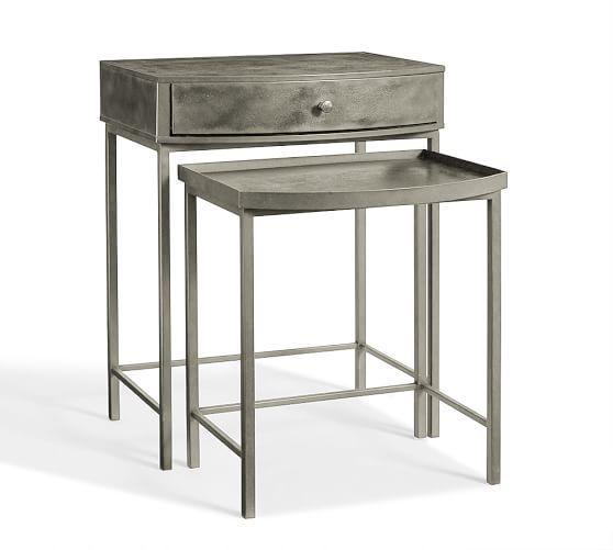 Woodrow Metal Nesting Bedside Tables Set Of 2 Bedside Table Bedside Tables Nightstands Metal Bedside