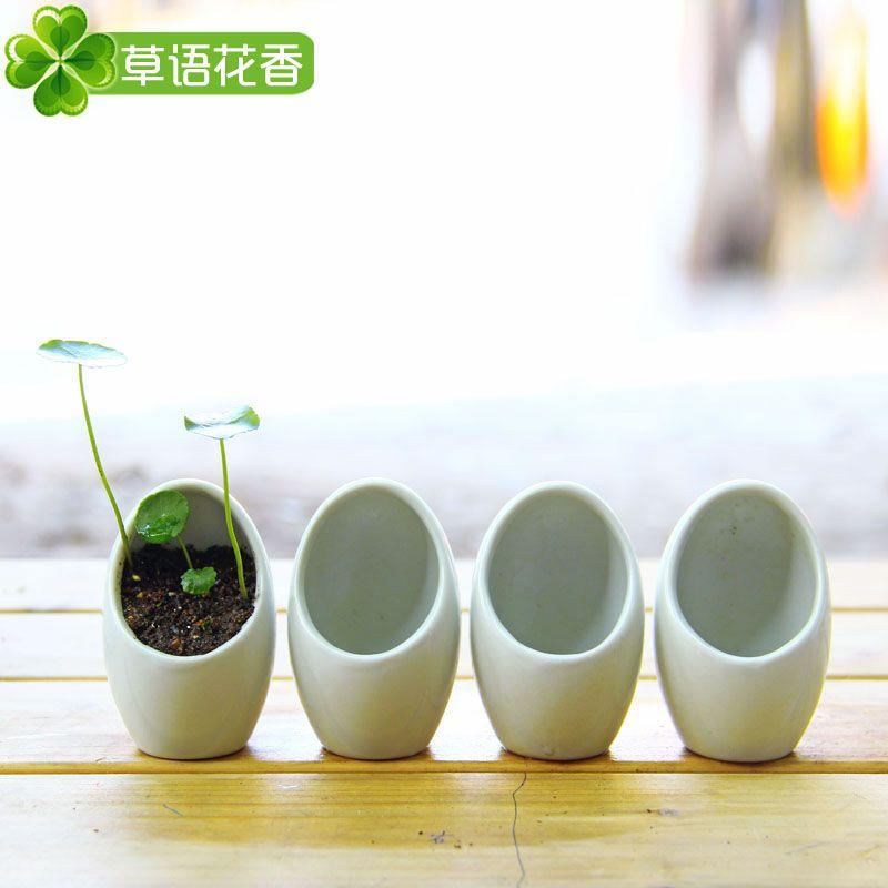 Wonderful Small White Plant Pots Part - 10: Cute Little White Planters.