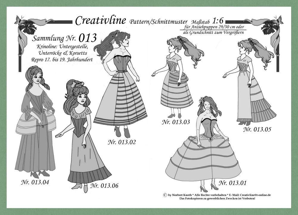 10 Schnittmuster 1:6 Krinoline Korsetts MITTELALTER Sammlung 13 ...