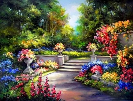 Floral Garden - Floral, Beautiful, Garden, Painting, Lovely, Nice, Forest, Tree, Sprung, Nature