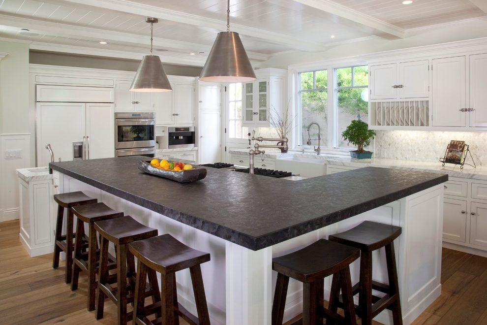 l shaped kitchen island with cabinets and design Take up all that awkward space in middl of kitchen and provide plenty of seating | Dad's house