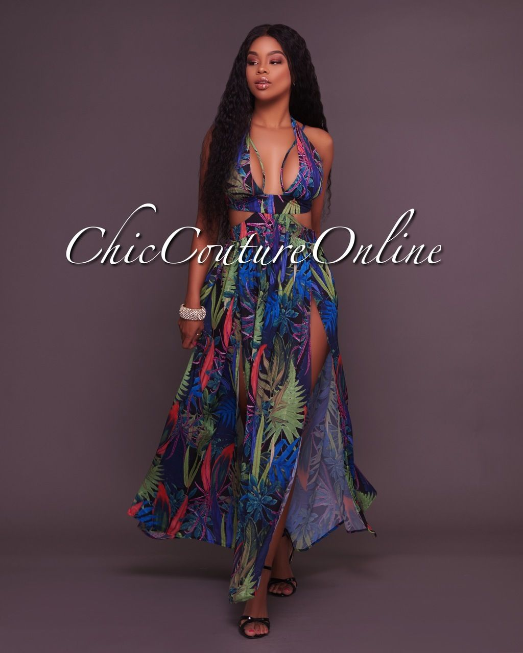 1b73b0fd18f Milena Black Tropical Print Cover Up Maxi Dress