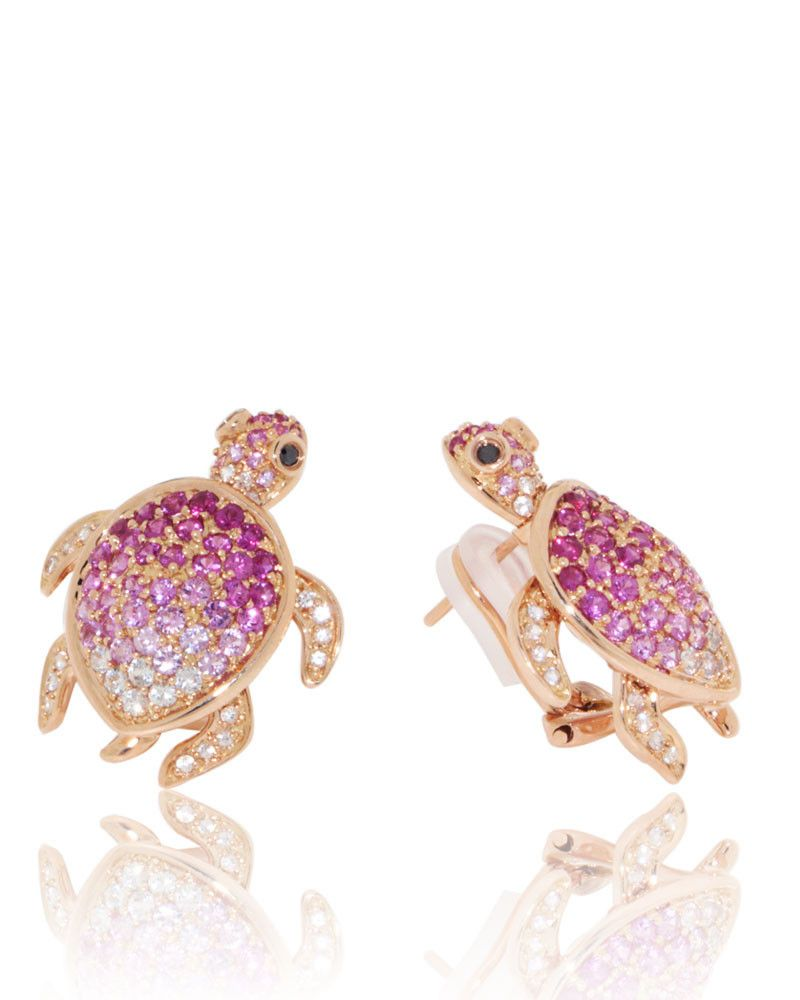 Ladies Rose Gold Plated 925 Sterling Silver Synthetic Pink Opal Inlay Turtle Dangle Earrings