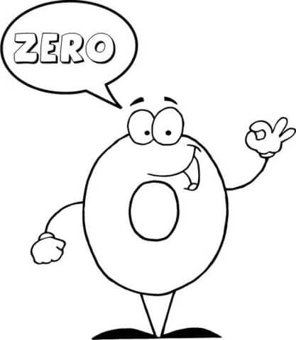 Number 0 Says Zero Coloring Page From English Cartoon Numbers 0 10
