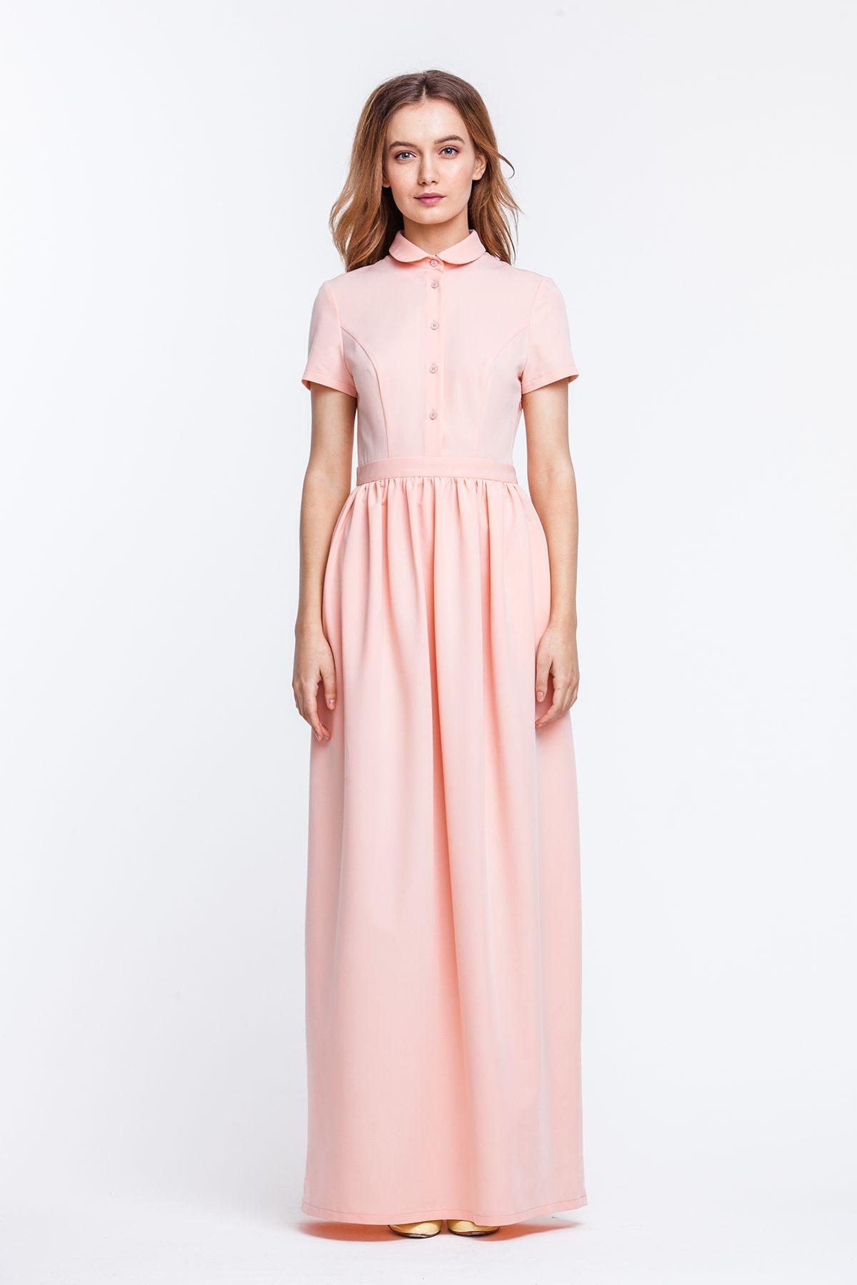 Платье с воротничком круглым