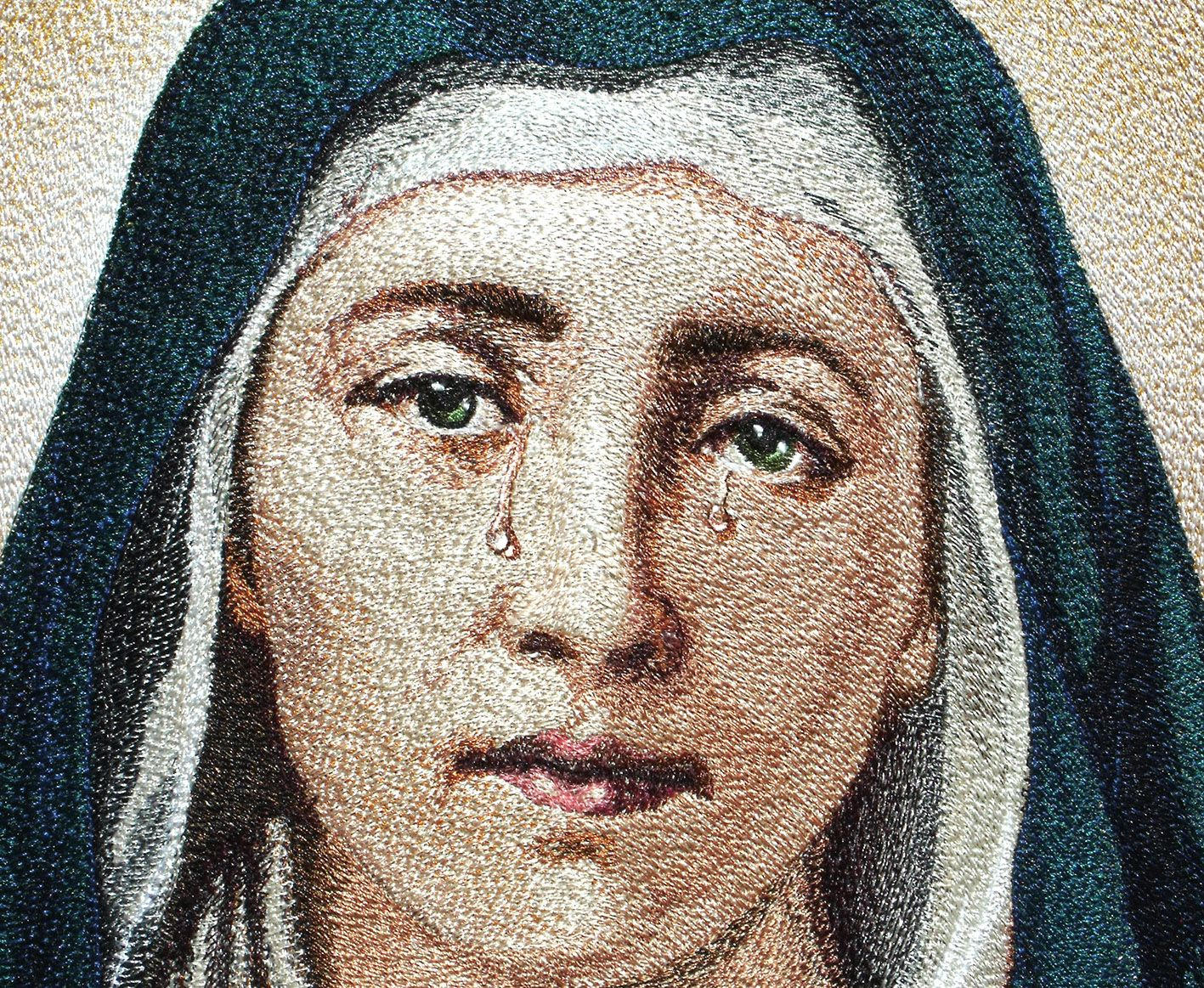 """Embroidery artist  Zhanna Plaksina «Virgin Mary» (fragment). Even in pictures noticeable 3D effect embroidered """"tears""""."""