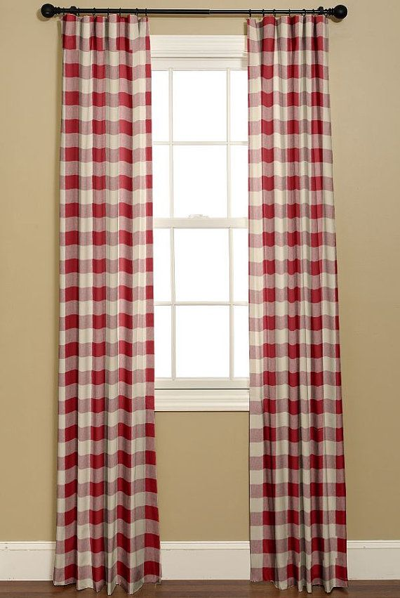 Buffalo Check Curtains In Red And White P By Bellashomedecor Home Decor White Bedroom Curtains