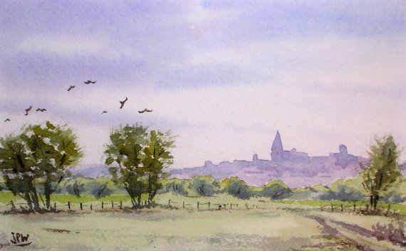 Aquarelle originale, peinture à l'aquarelle, paysage de campagne française