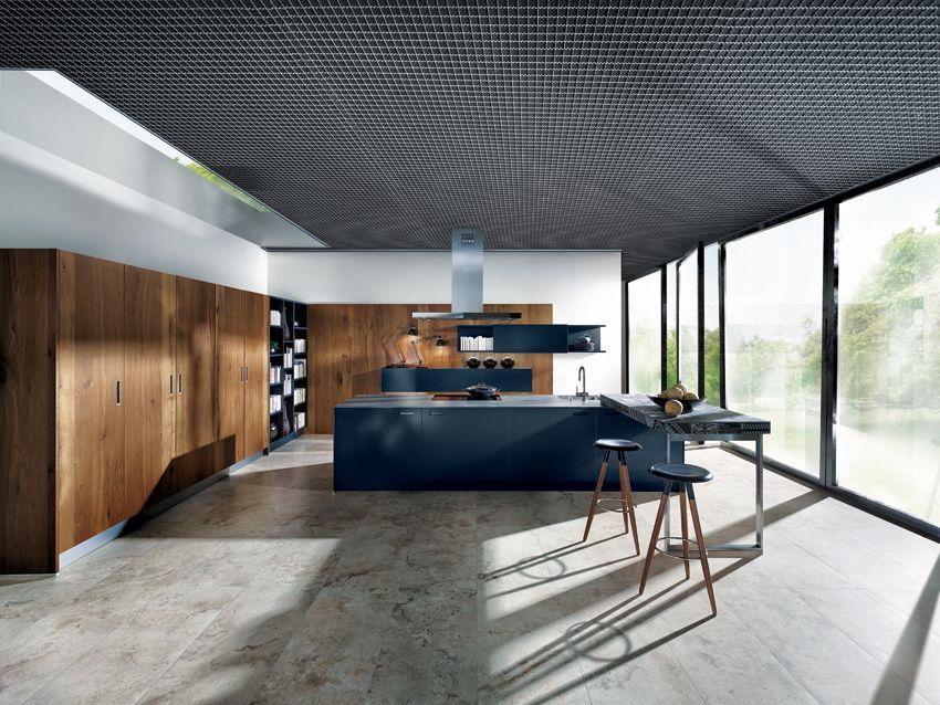 Next 125 - Indigo blue glass matt kitchen, mixed with wood look ...