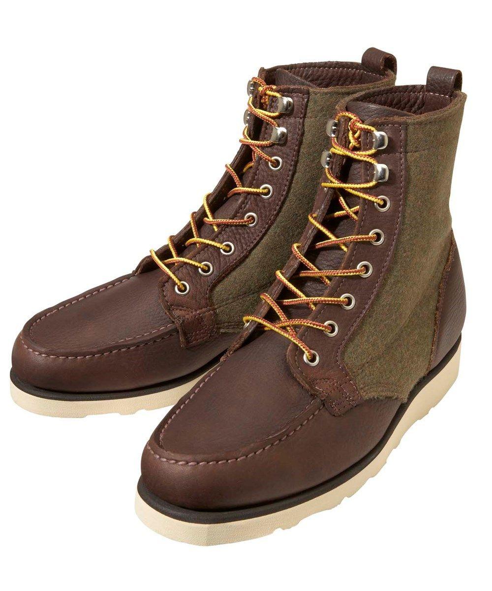 Sebago Stockton Boot, Dark brown premium full grain leather and Woolrich  wool