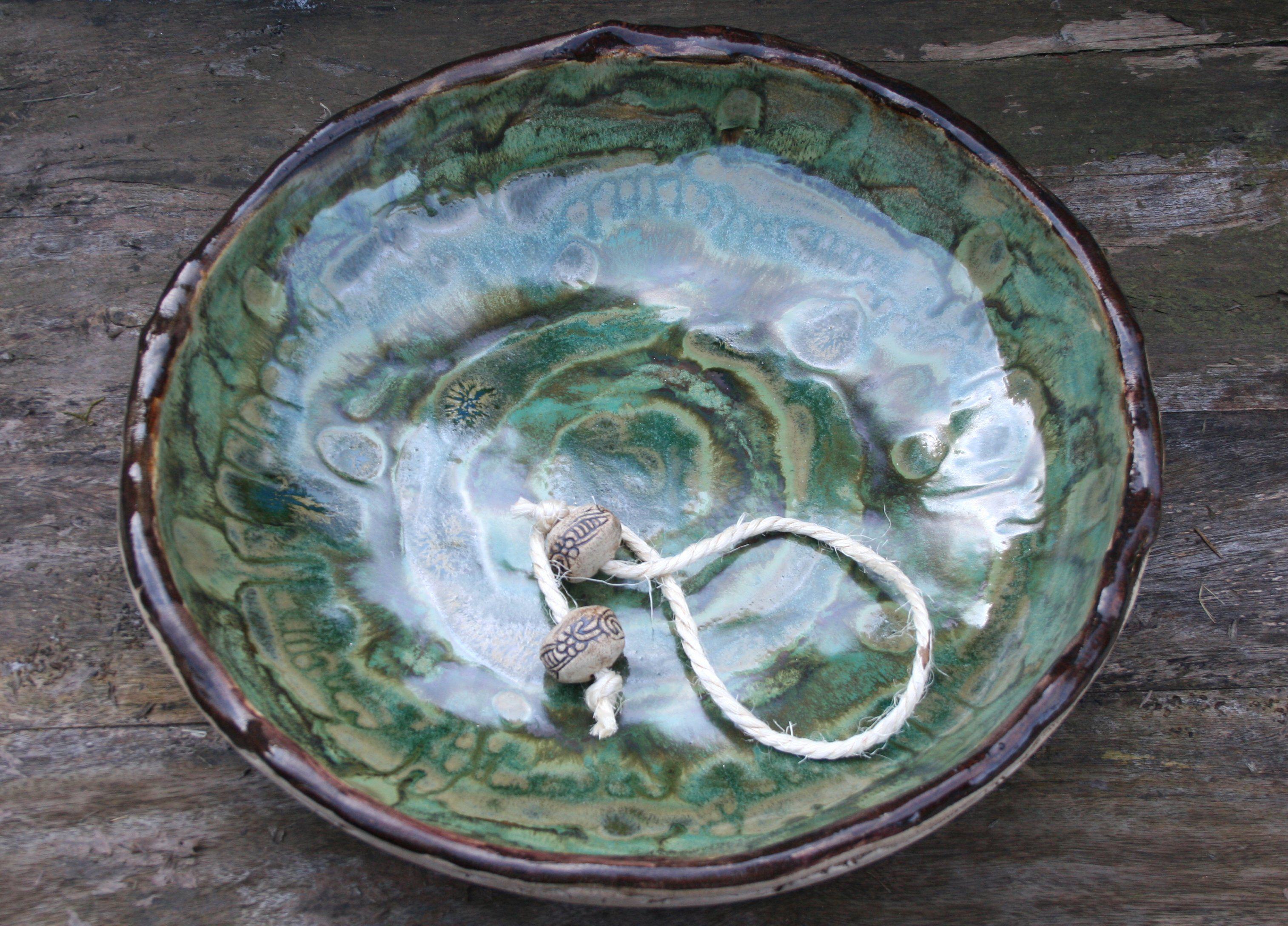 Edle große Keramik Vogeltränke, Vogelbad, 36 cm | Handmade art