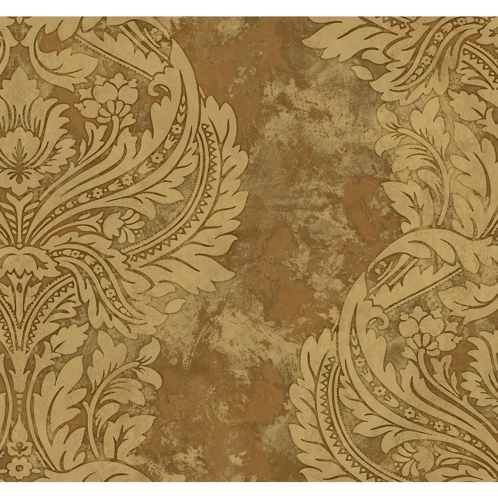 Seabrook Designs Newton Damask Tan and Gold Paper Strippable Roll (Covers 60.75 sq. ft.) AV51306 - The Home Depot