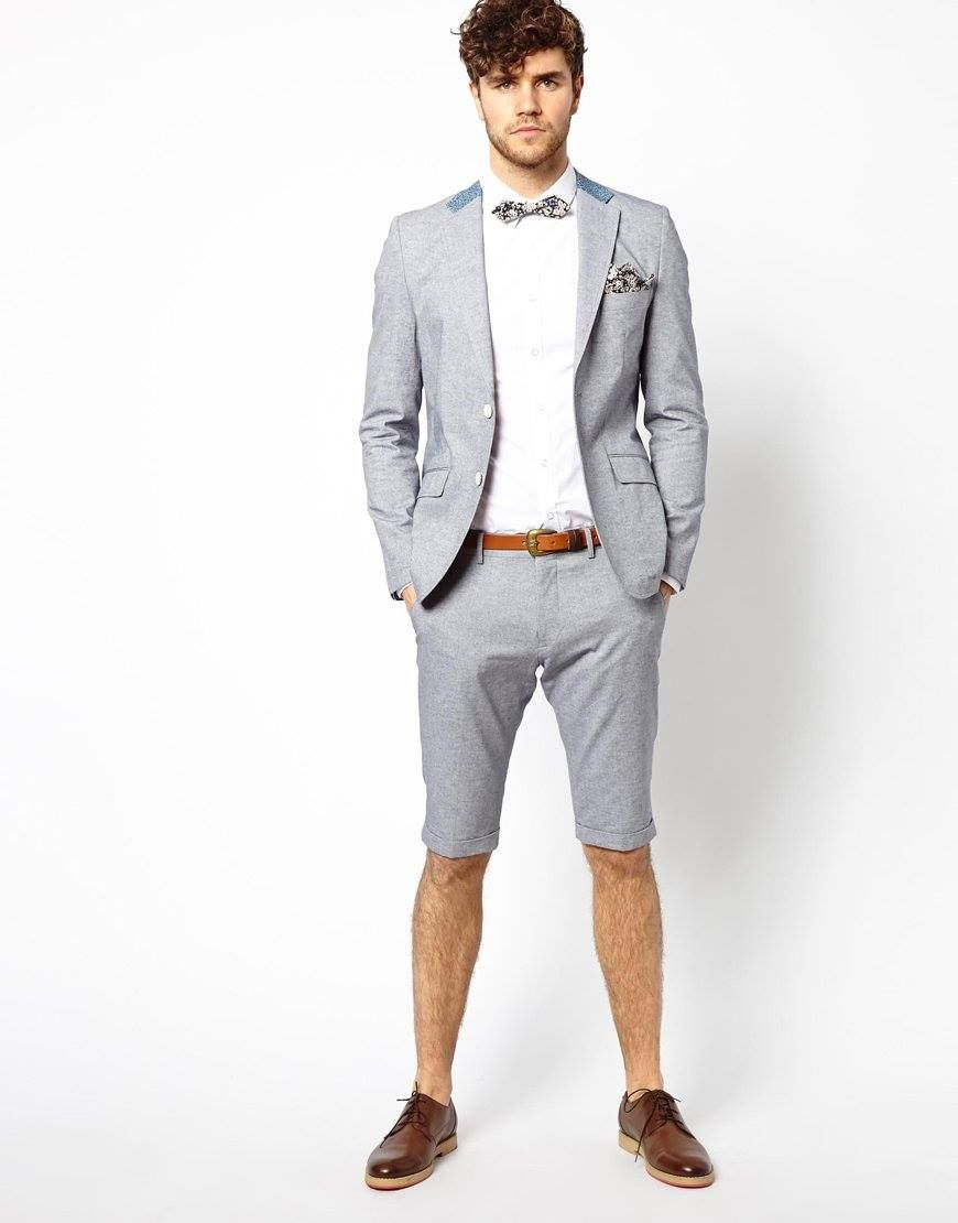 Click To Buy 2017 Latest Coat Pant Designs Grey Men Suit Short Pant Casual Beach Summer Cu Beach Wedding Suits Mens Beach Wedding Suits Wedding Suits Men