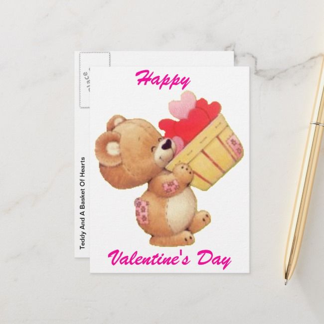 Teddy And A Basket Of Hearts Holiday Postcard , #affiliate, #Hearts#Holiday#Postcard#Shop #Ad